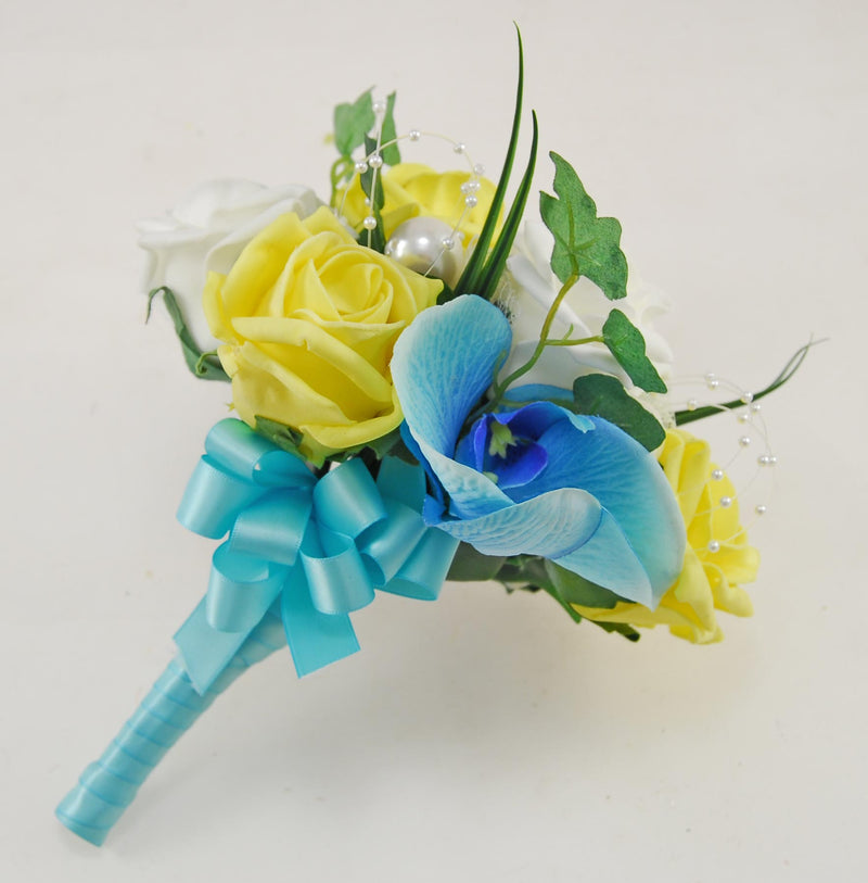 Ursula Aqua Blue Silk Orchid, Yellow Rose & Pearl Wedding Package