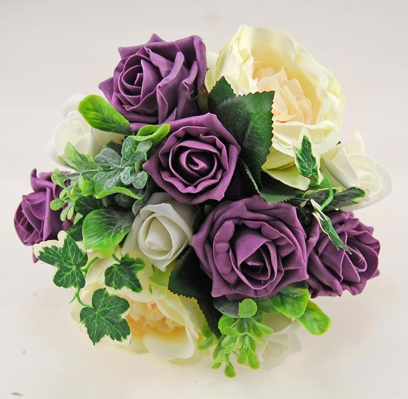 Yazmin Cottage Plum Purple Rose & Green Herb Wedding Flower Package