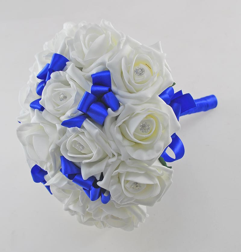 Bridesmaids Ivory Diamante Foam Rose & Royal Blue Ribbon Wedding Posy