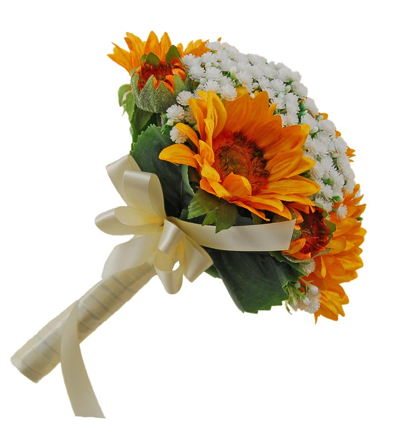 Bridesmaids Ivory Gypsophila & Golden Yellow Sunflower Wedding Posy Bouquet