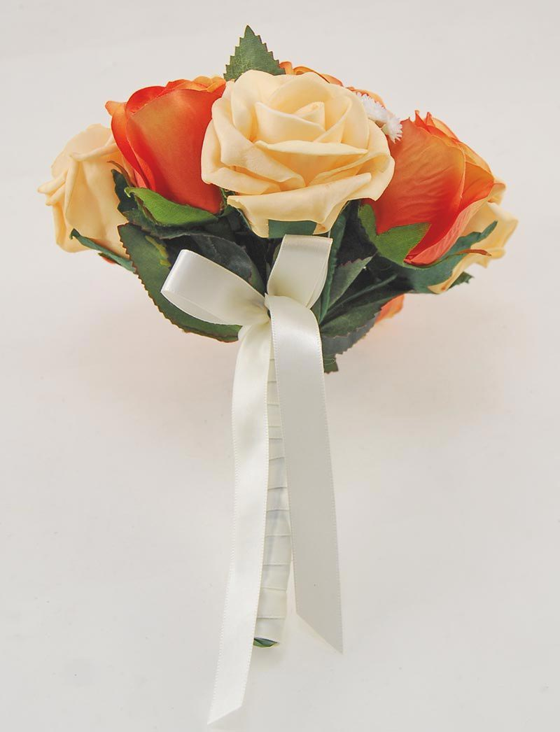 Bridesmaids Orange Silk, Mango Foam Rose & Gypsophila Posy