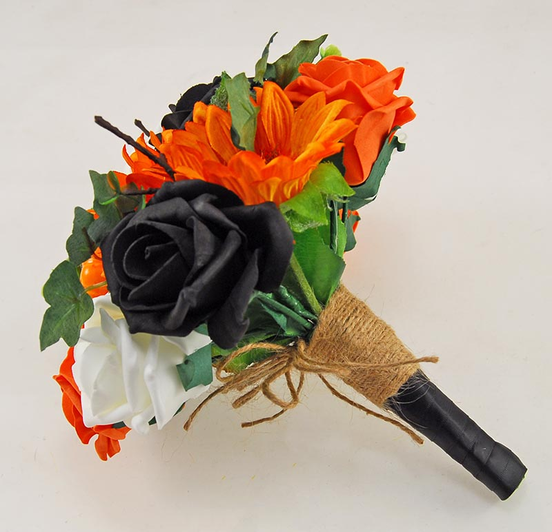 Bridesmaids Orange Silk Sunflower, Pumpkin & Black Rose Wedding Posy