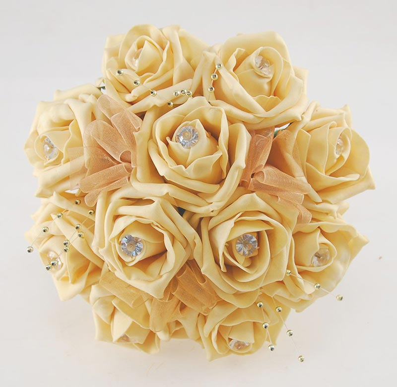 Bridesmaids Pale Gold Artificial Rose & Pearl Wedding Posy