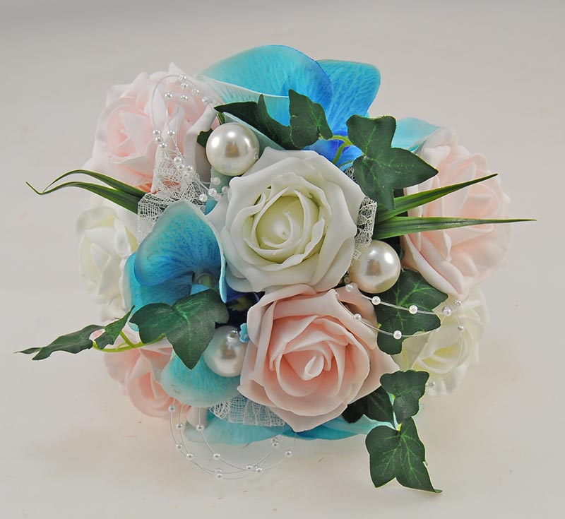 Ursula Aqua Silk Orchid, Light Pink Rose & Pearl Wedding Package