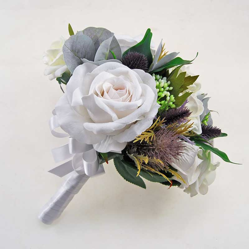 Bridesmaids Artificial Thistle, Berry White & Ivory Rose Wedding Bouquet
