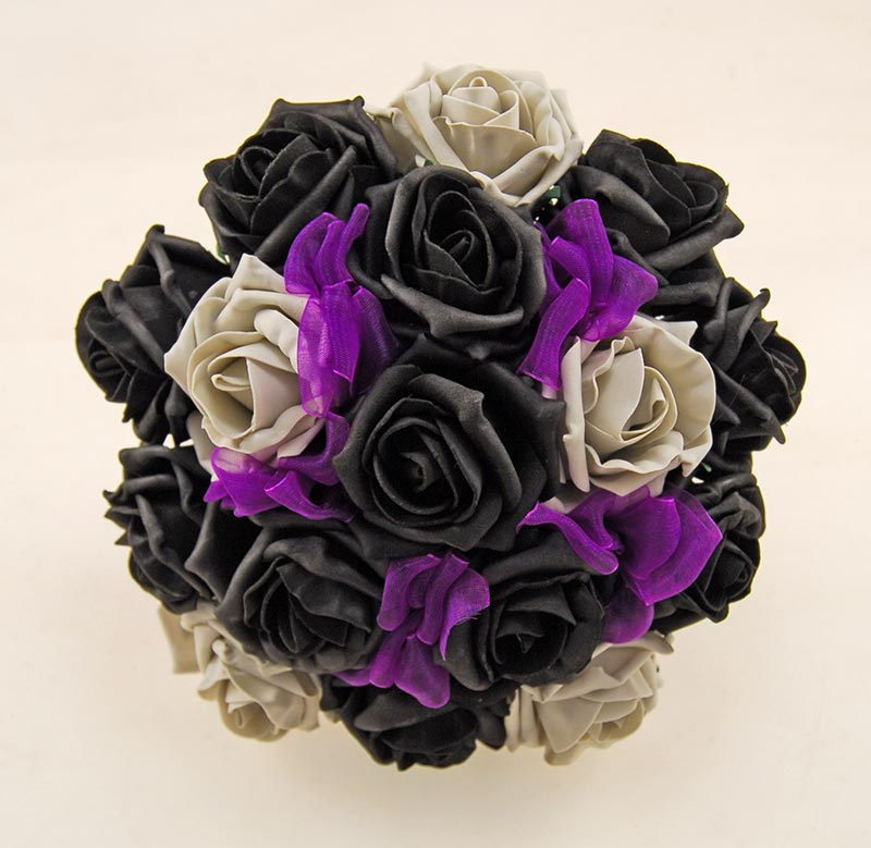 Bridesmaids Grey, Black Rose & Purple Organza Ribbon Bow Wedding Bouquet