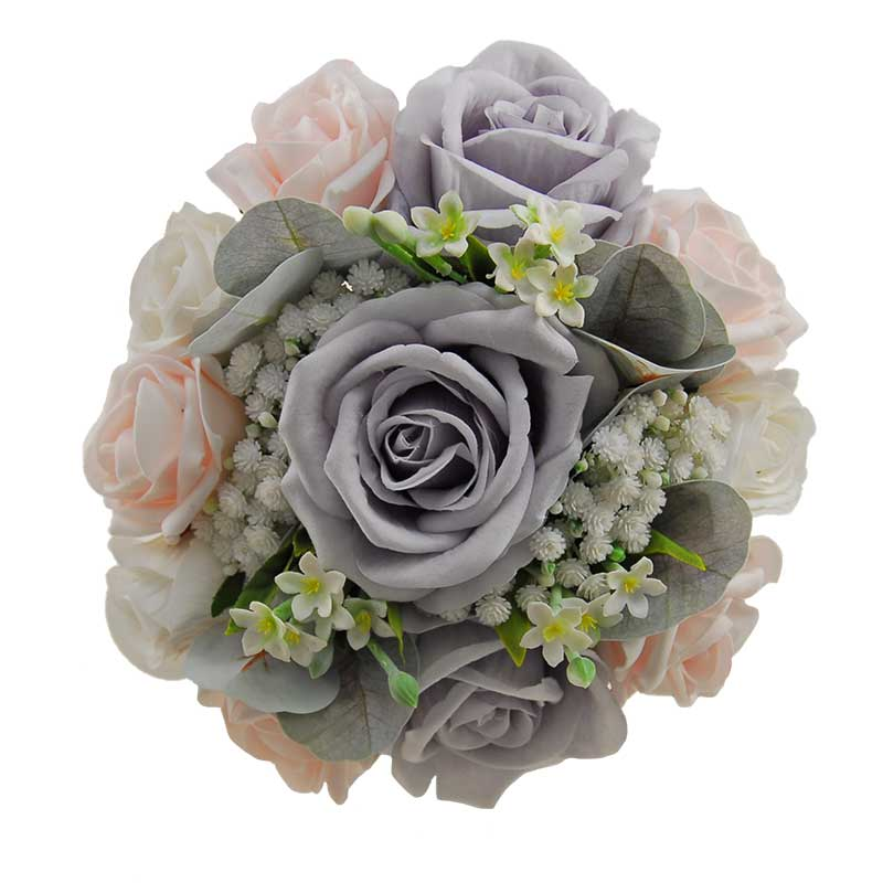 Bridesmaids Gypsophila Rose Posy Bouquet Pink, White & Grey