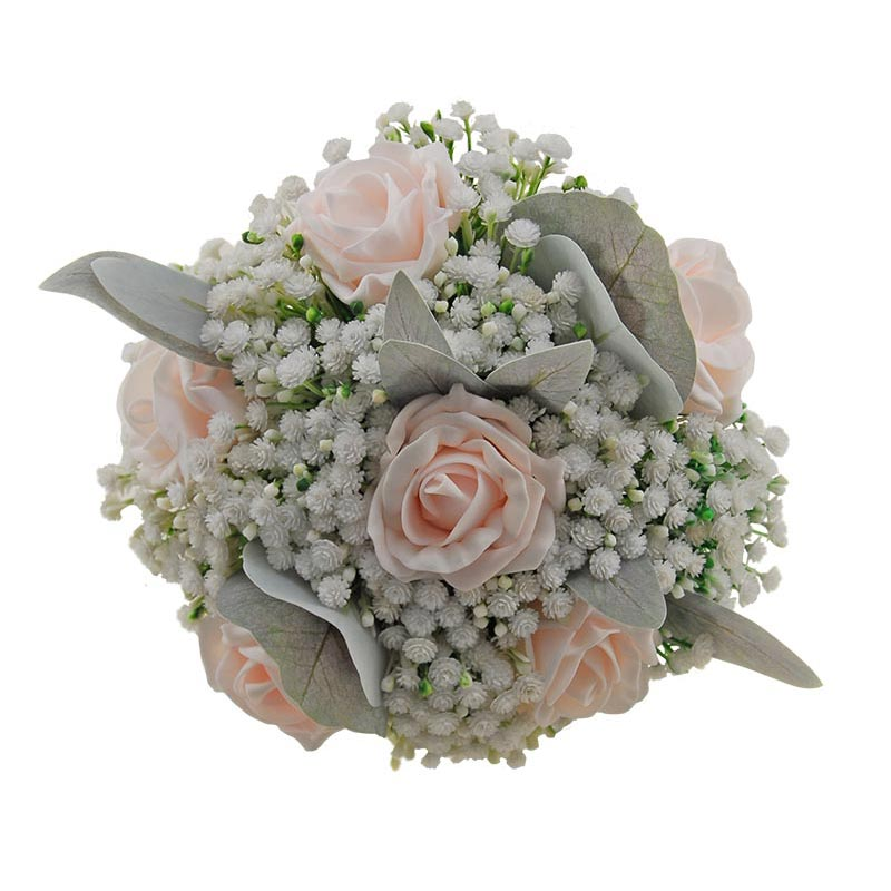 Bridesmaids Light Pink Roses, Gypsophila & Silver Foliage Posy Bouquet