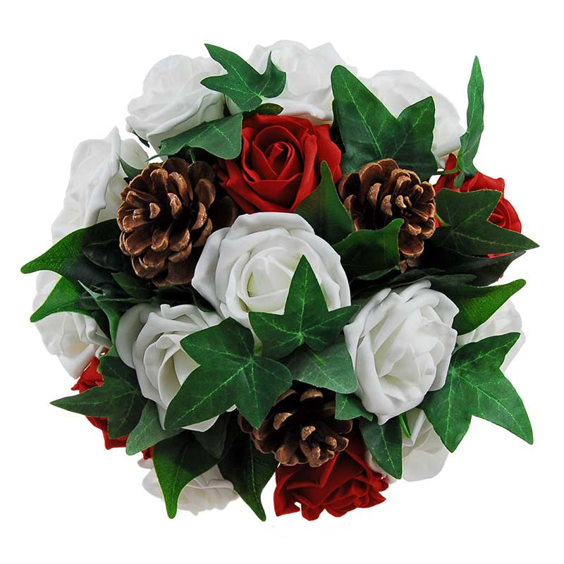 Bridesmaids Red, Ivory Rose & Pine Cone Christmas Wedding Posy