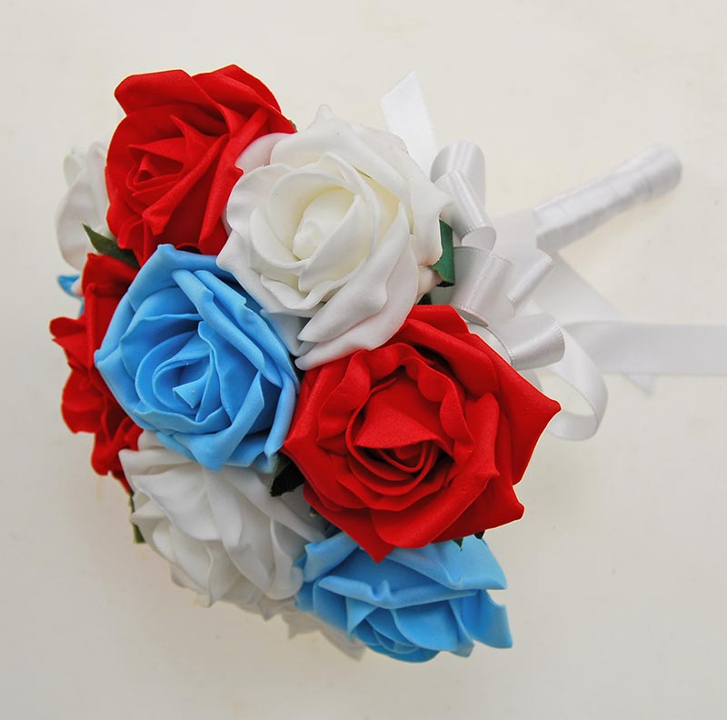 Bridesmaids Turquoise, White & Red Artificial Foam Rose Wedding Posy