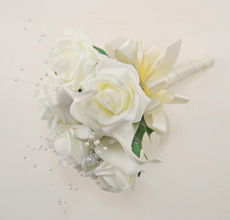 Bridesmaids Artificial Calla Lily & Ivory Foam Rose Pearl Wedding Posy