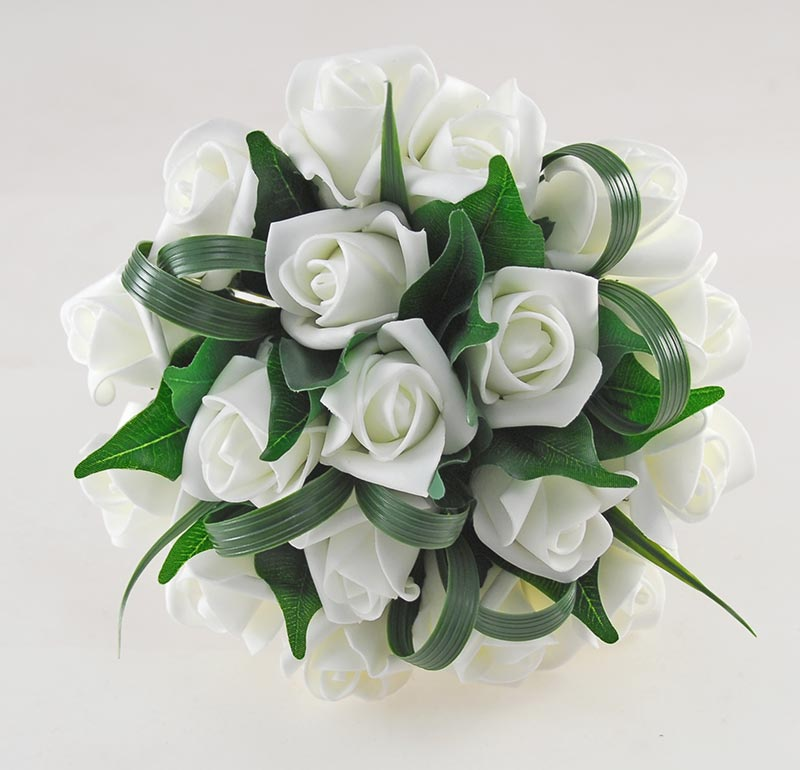 Bridesmaids Artificial Ivory Rose & Green Leaf Wedding Posy