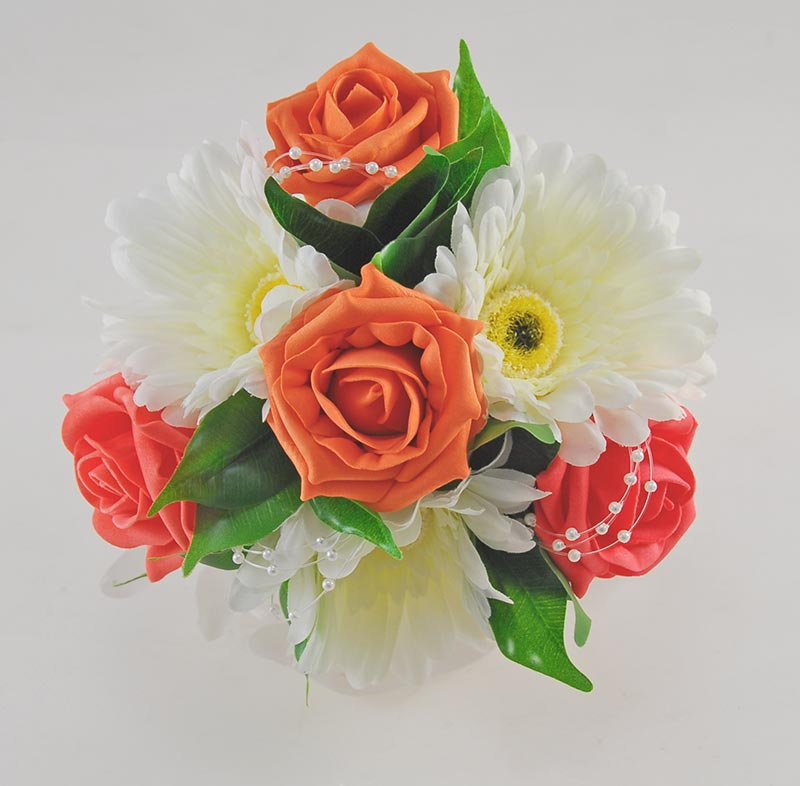 Bridesmaids Artificial Orange Rose & Ivory Silk Gerbera Wedding Posy