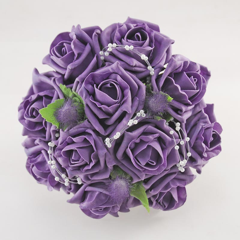 Bridesmaids Aubergine Purple Rose & Thistle Wedding Posy