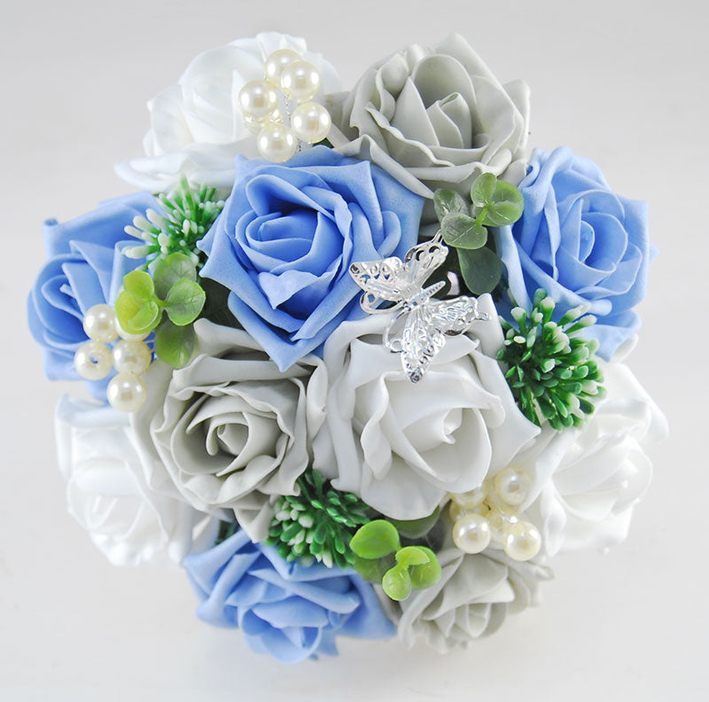 Bridesmaids Blue, White & Grey Rose Gyp, Pearl & Butterfly Wedding Posy