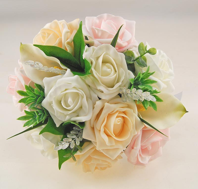 Ivory Calla Lily, Crystal, Light Pink & Cream Rose Mia Wedding Flower Package