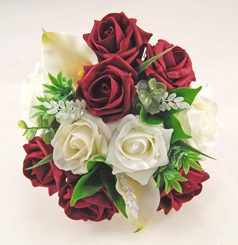 Ivory Calla Lily, Foam Rose, Crystals & Burgundy Rose Mia Wedding Flower Package