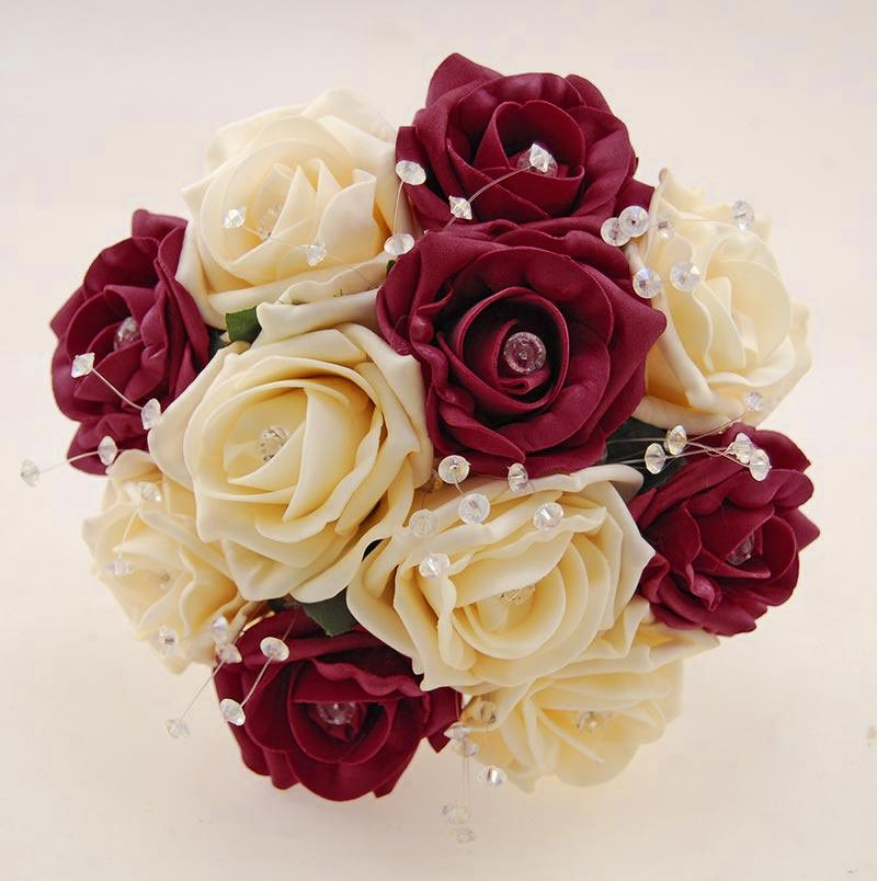 Bridesmaids Burgundy, Cream Diamante Rose & Crystal Wedding Posy