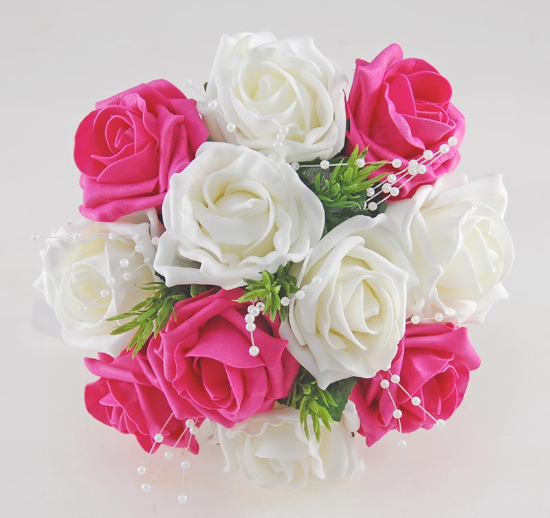 Bridesmaids Cerise Pink, Ivory Rose Wedding Posy with Rosemary, Pearls