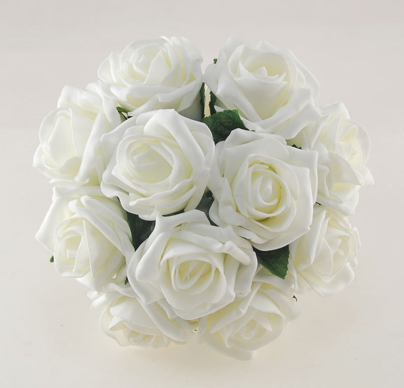 Bridesmaids Classic Artificial Ivory Rose Wedding Posy Bouquet