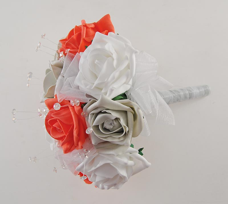 Bridesmaids Coral, LIght Grey & White Diamante Rose Wedding Posy