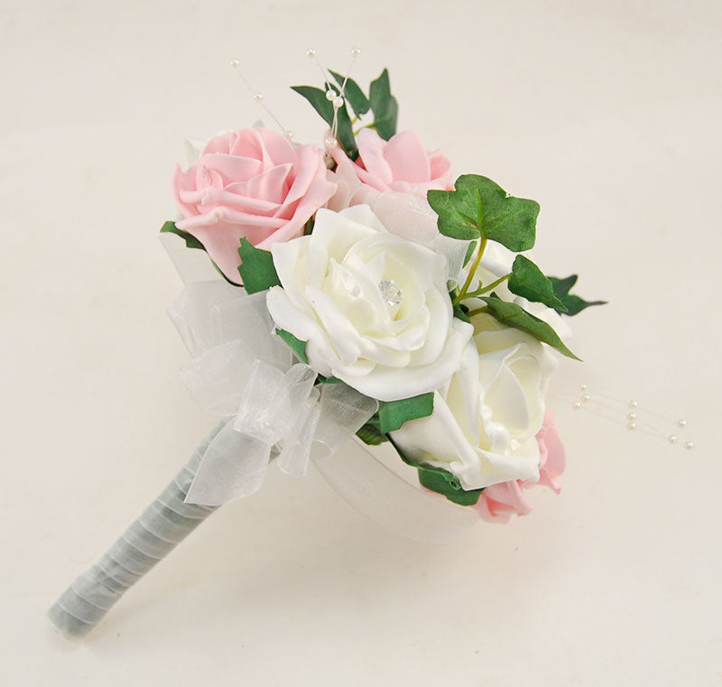 Bridesmaids Dusky Pink & Ivory Diamante Rose Pearl Brooch Posy
