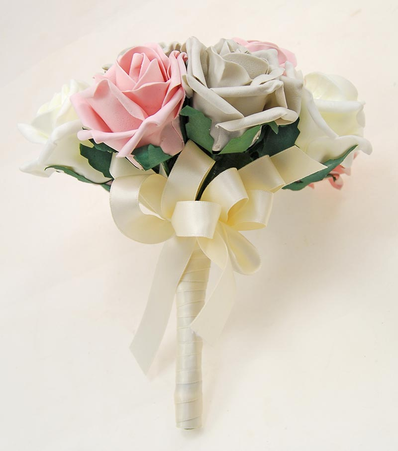 Bridesmaids Dusky Pink, Ivory & Grey Artificial Foam Rose Wedding Posy