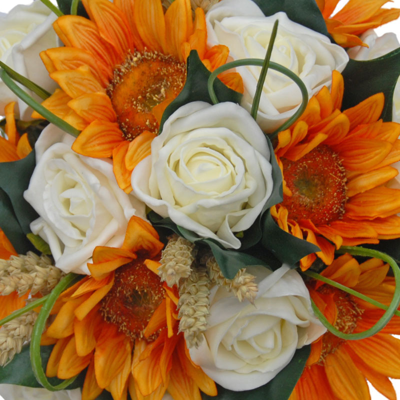 Bridesmaids Golden Silk Sunflowers Ivory Roses & Wheat Wedding Posy