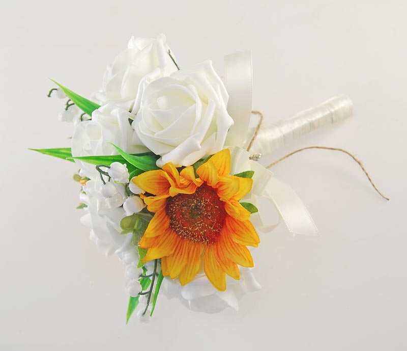 Bridesmaids Golden Sunflower, Lilly of the Valley & Ivory Rose Silk Wedding Posy