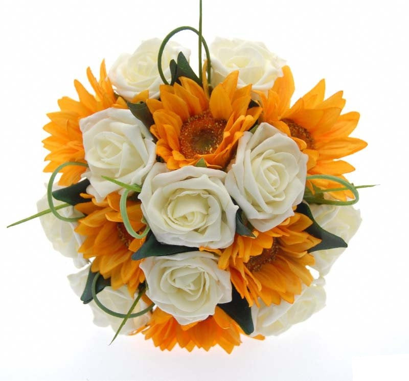 Bridesmaids Golden Yellow Silk Sunflower & Ivory Rose Wedding Posy