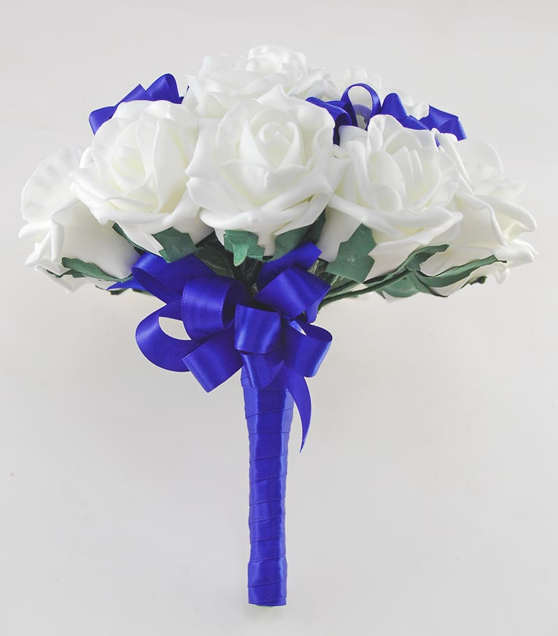 Bridesmaids Ivory Artificial Rose with Royal Blue Satin Ribbon Bow Wedding Posy