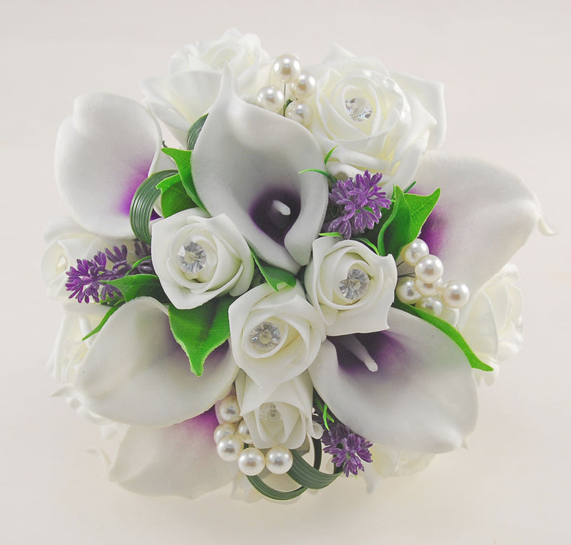 Bridesmaids Ivory Diamante Rose & Purple Calla Lily Wedding Posy with Pearls