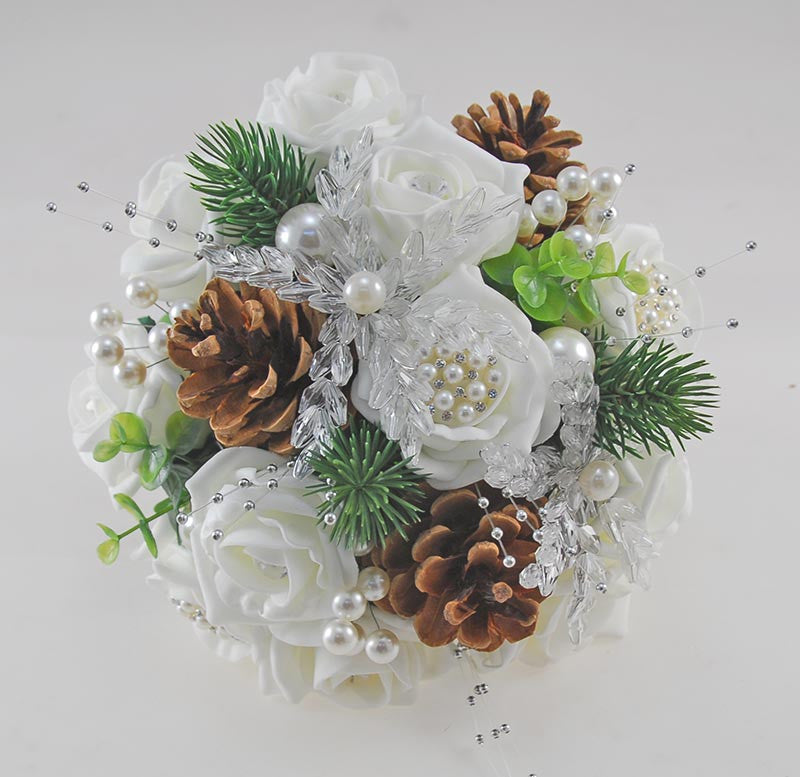 Bridesmaids Ivory Rose, Crystal and Pine Cone Wedding Posy