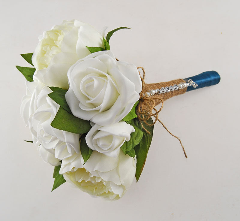 Bridesmaids Ivory Rose & Silk Peony Name Charm Wedding Posy