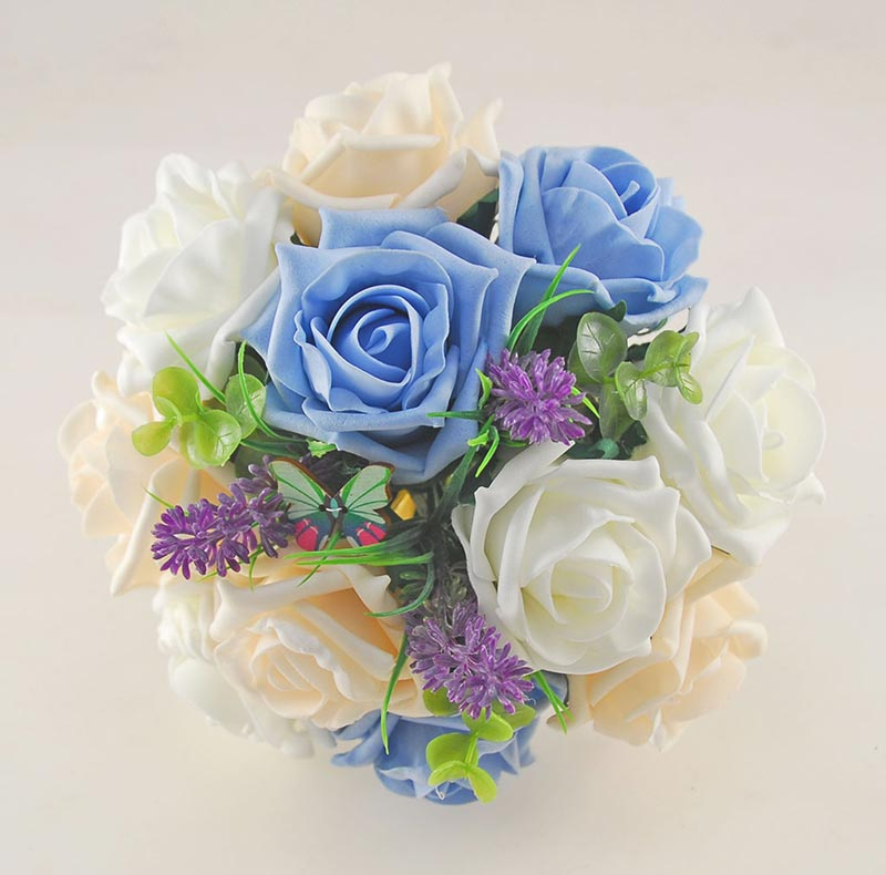 Bridesmaids Light Blue & Cream Rose Wedding Posy with Lavender, Wooden Butterfly