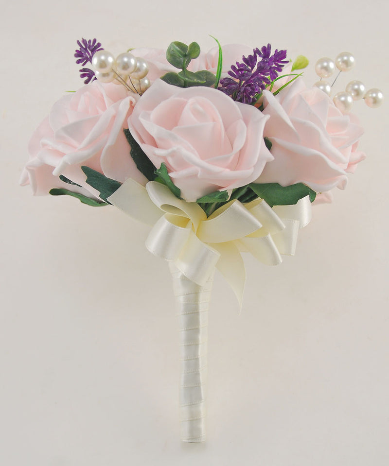 Bridesmaids Light Pink Wedding Posy with Lavender & Pearls