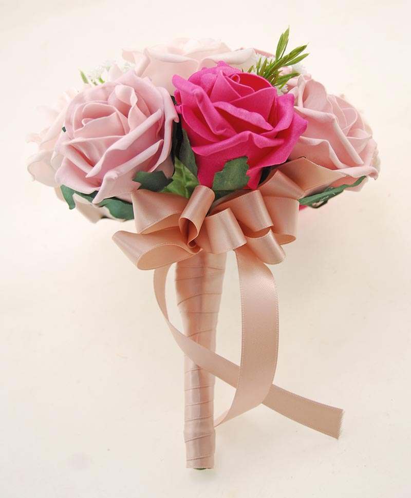 Bridesmaids Mixed Pink Rose, Silk Gypsophila, Rosemary Wedding Posy
