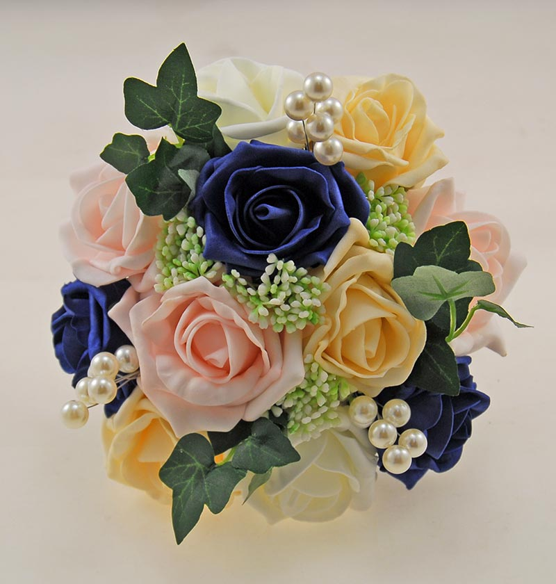 Bridesmaids Navy Blue Cream Pink Rose Gypsophila Pearl Wedding Posy