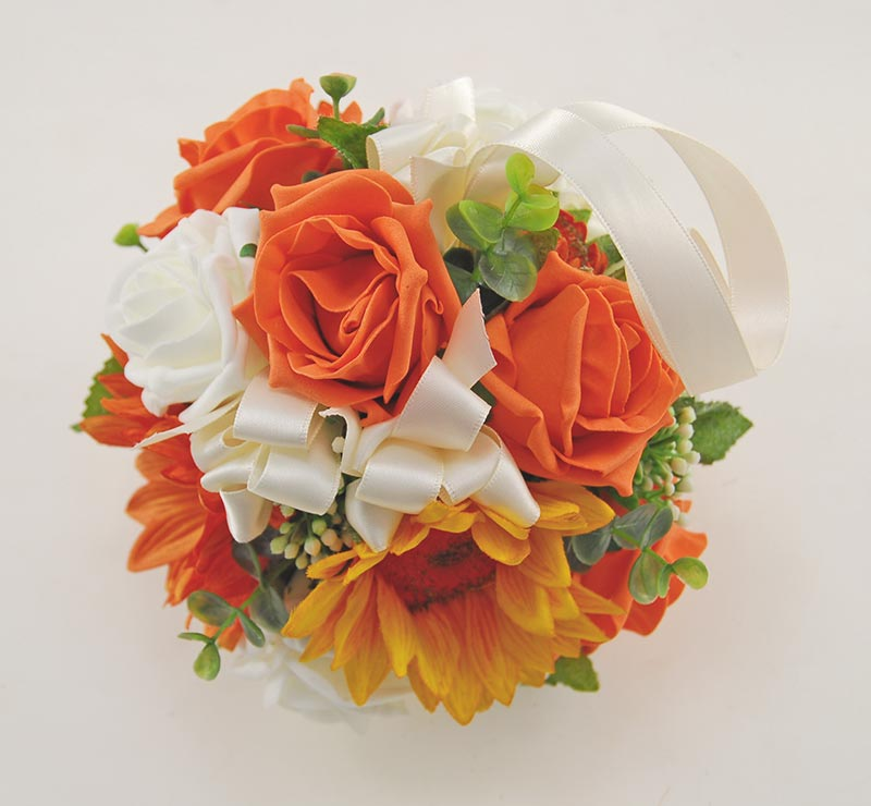 Bridesmaids Orange Silk Sunflower & Rose Bridesmaids Pomander Flower Ball