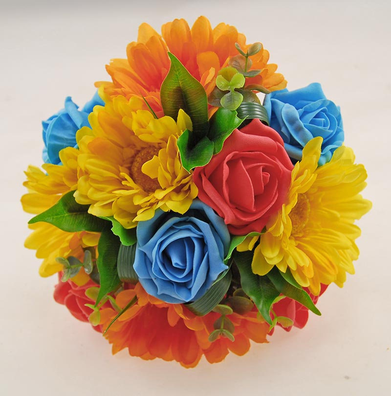 Bridesmaids Orange, Yellow Gerbera & Turquoise, Coral Rose Wedding Posy