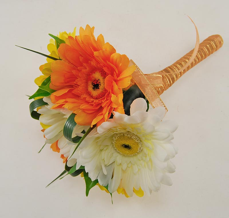 Bridesmaids Orange Yellow Ivory Silk Gerbera Wedding Posy