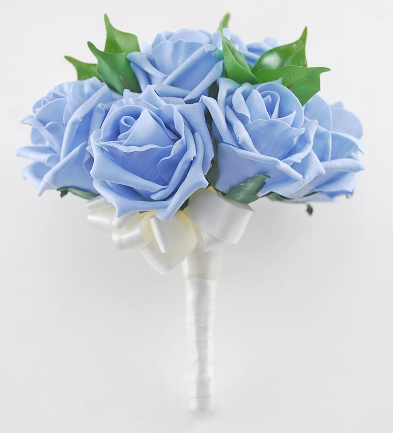 Bridesmaids Pale Blue Artificial Foam Rose Wedding Posy