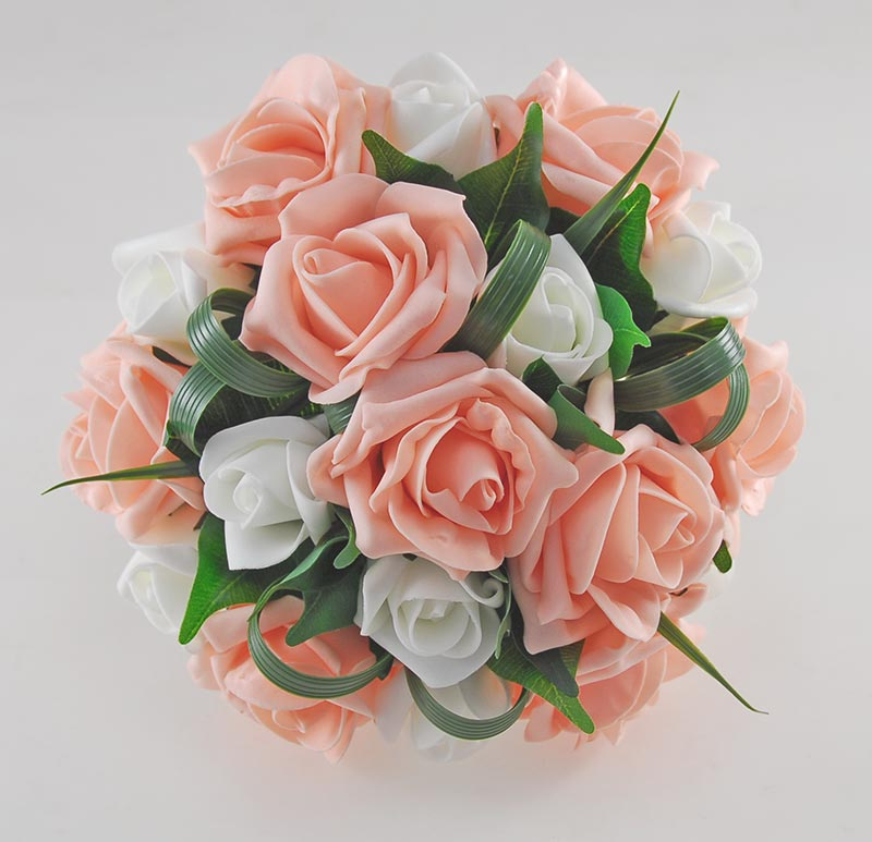 Bridesmaids Peach & Ivory Artificial Rose Wedding Posy Bouquet