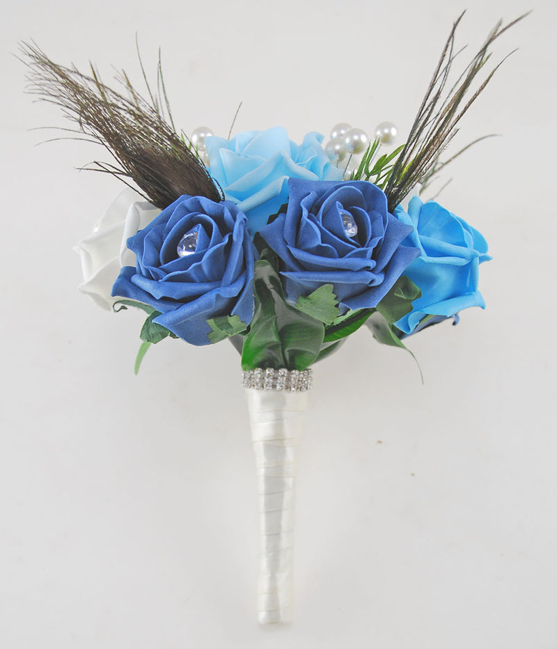 Bridesmaids Peacock Feather & Pearl Brooch Turquoise Wedding Posy