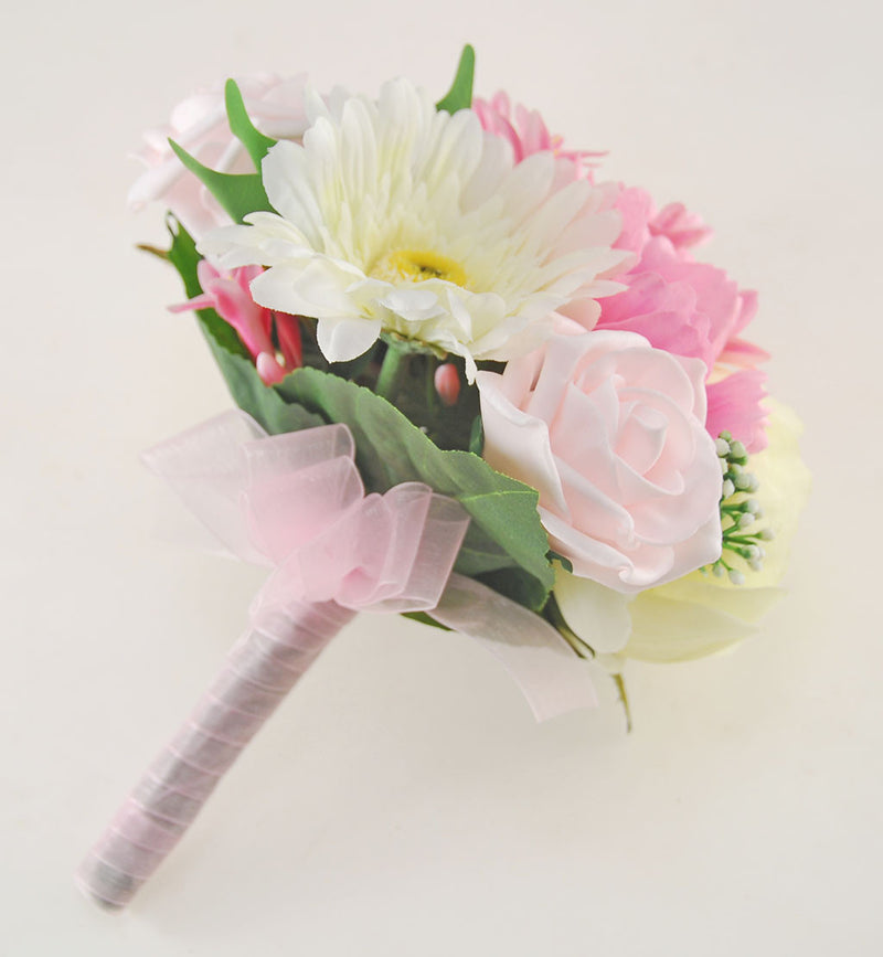Bridesmaids Pink Agapanthus & Cream Peony Wedding Posy