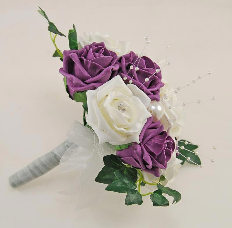 Bridesmaids Large Pearl, Plum Purple & Ivory Diamante Rose Wedding Posy