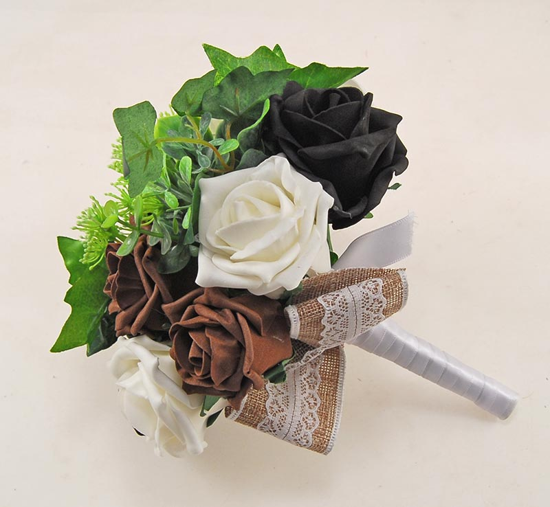 Wedding Flowers On A Budget Uk: Black & Brown Rose Hessian Lace Ribbon Amber Wedding