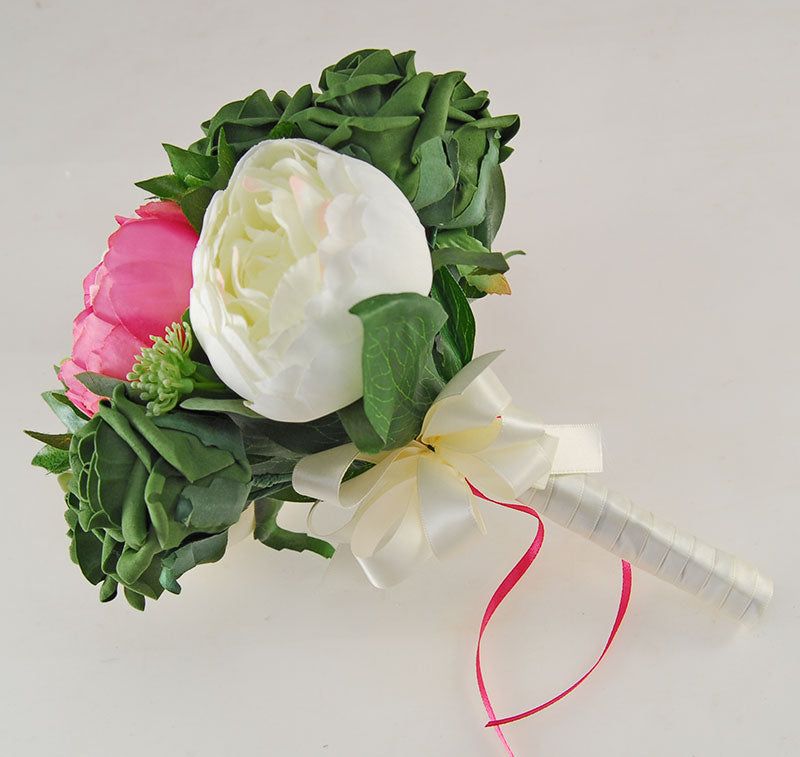 Ivory, Pink Silk Peony & Forest Green Foam Rose Grace Wedding Flower Package