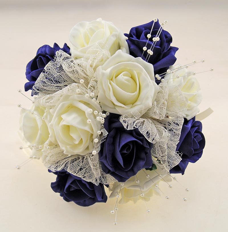 Navy and Ivory Rose Wedding Flower Package, Pearl Strands & Lace Brides Bouquet, Bridesmaids Posies, Flower Girl Wand, Groom, Guest Buttonholes
