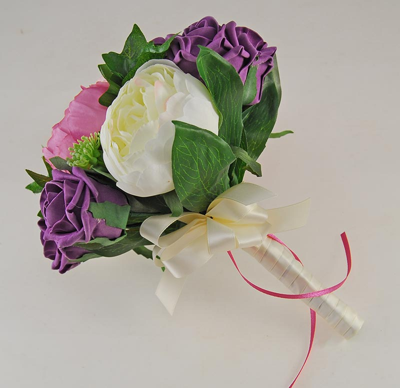 Pink & Ivory Silk Peony & Plum Foam Rose Grace Wedding Flower Package